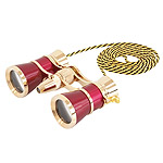 Levenhuk Brodway theatre binocular 3x25 red / gold with chain