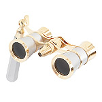 Levenhuk Brodway theatre binocular 3x25 silver-gold with handle