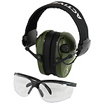 Protective shooting headphones RealHunter ACTiVE PRO olive + protective eyeglasses