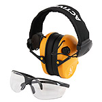 Protective shooting headphones RealHunter ACTiVE PRO orange + protective eyeglasses